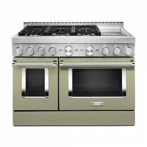 KitchenAid 48 in. 6.3 cu. ft. Smart Double Oven Commercial-Style Gas Range with Griddle and True Convection in Avocado Cream