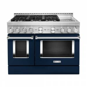 KitchenAid 48 in. 6.3 cu. ft. Smart Double Oven Commercial-Style Gas Range with Griddle and True Convection in Ink Blue