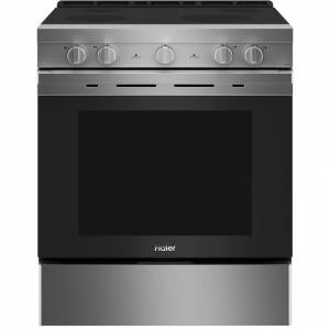HAIER 5.7 cu. ft. Smart Slide in Electric Range with Self Cleaning Convection Oven in Stainless Steel, Silver
