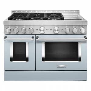 KitchenAid 48 in. 6.3 cu. ft. Smart Double Oven Commercial-Style Gas Range with Griddle and True Convection in Misty Blue