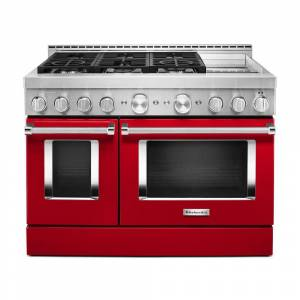 KitchenAid 48 in. 6.3 cu. ft. Smart Double Oven Commercial-Style Gas Range with Griddle and True Convection in Passion Red