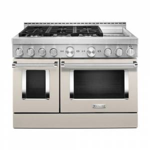 KitchenAid 48 in. 6.3 cu. ft. Smart Double Oven Commercial-Style Gas Range with Griddle and True Convection in Milkshake