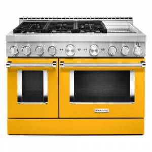 KitchenAid 48 in. 6.3 cu. ft. Smart Double Oven Commercial-Style Gas Range with Griddle and True Convection in Yellow Pepper