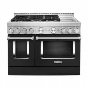 KitchenAid 48 in. 6.3 cu. ft. Smart Double Oven Commercial-Style Gas Range with Griddle and True Convection in Imperial Black