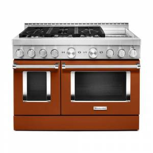 KitchenAid 48 in. 6.3 cu. ft. Smart Double Oven Commercial-Style Gas Range with Griddle and True Convection in Scorched Orange