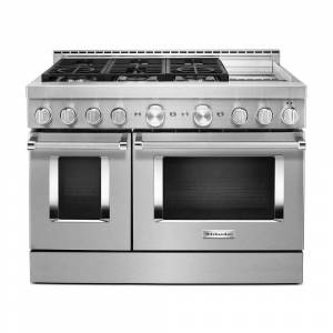 KitchenAid 48 in. 6.3 cu. ft. Smart Double Oven Commercial-Style Gas Range with Griddle and True Convection in Stainless Steel, Silver