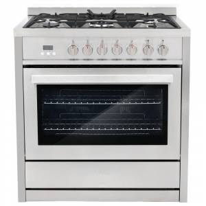 Cosmo Commercial-Style 36 in. 3.8 cu. ft. Single Oven Dual Fuel Range with 8 Function Convection Oven in Stainless Steel, Silver