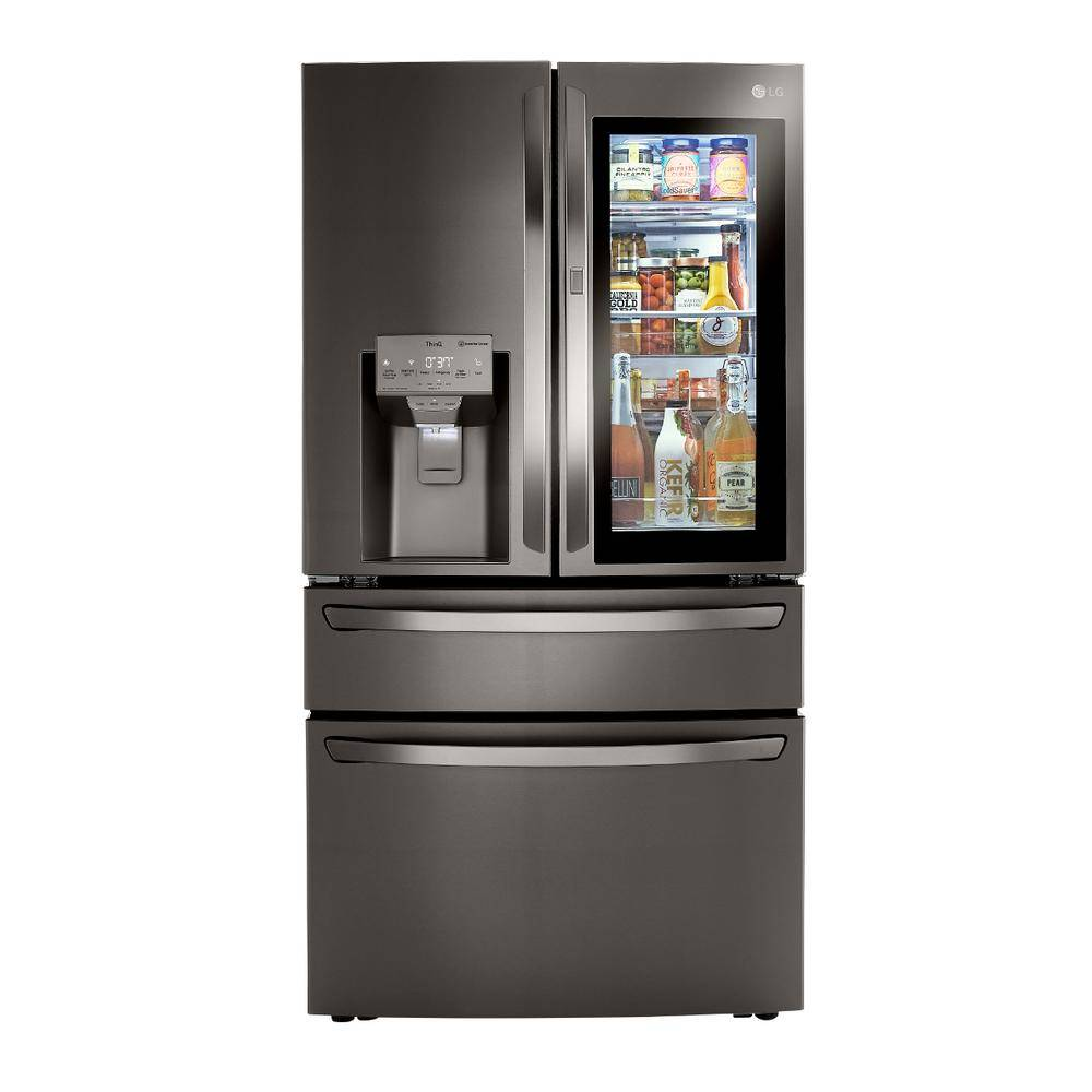 LG Electronics 22.5 cu. ft. French Door Refrigerator with InstaView, Dual and Craft Ice in PrintProof Black Stainless, Counter Depth, PrintProof Black Stainless Steel