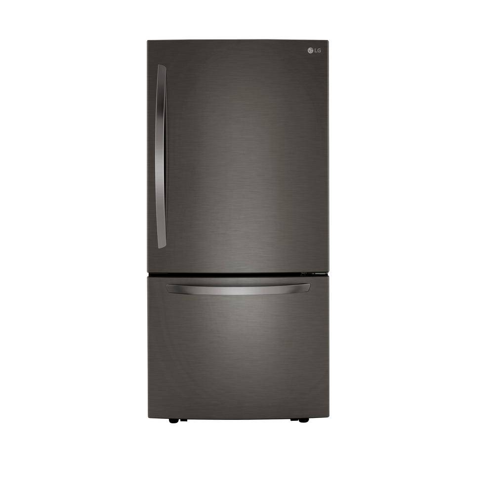 LG Electronics 25.50 cu. ft. Bottom Freezer Refrigerator in PrintProof Black Stainless Steel with Filtered Ice and Smart Cooling