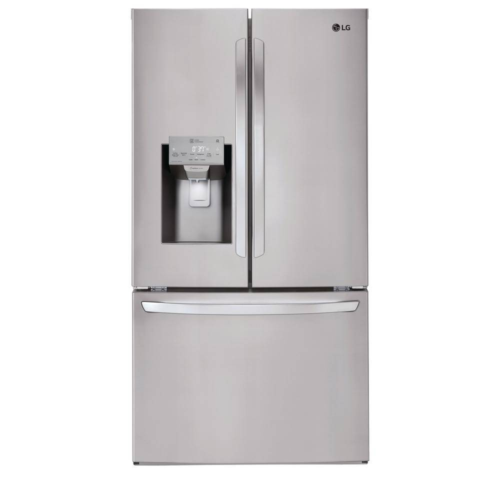 LG Electronics 22 cu. ft. French Door Smart Refrigerator with Glide N' Serve, Wi-Fi Enabled in PrintProof Stainless Steel,Counter Depth