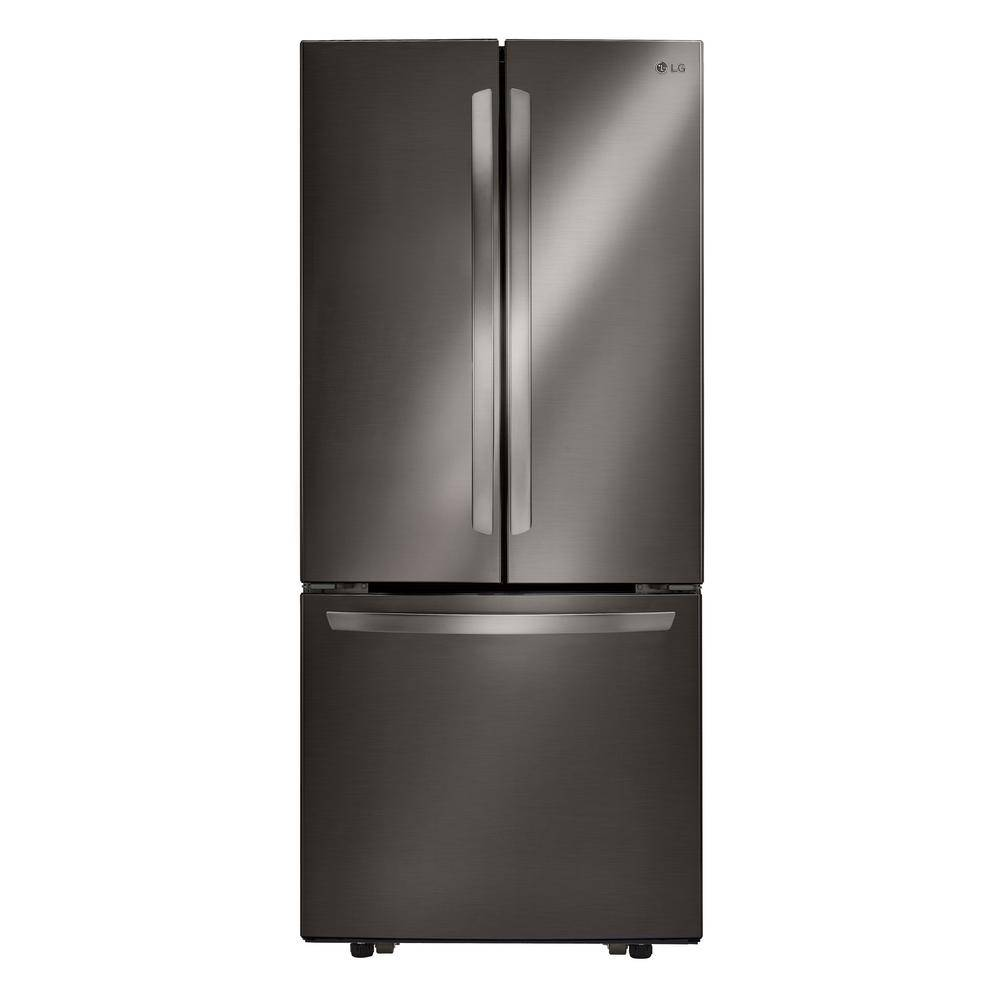 LG Electronics 30 in. W 21.8 cu. ft. French Door Refrigerator in Black Stainless Steel
