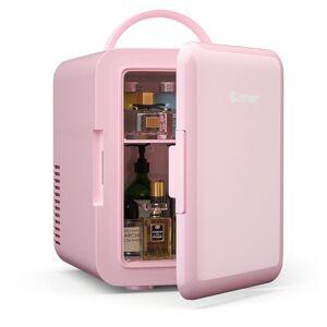 Costway 0.14 cu. ft. Retro Mini Fridge in Pink with Freezer