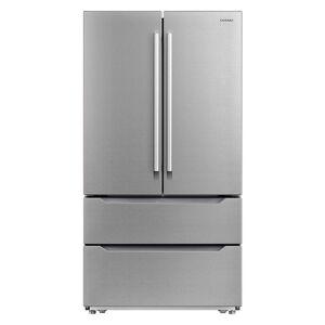 Cosmo 22.5 cu. ft. 4-Door French Door Refrigerator with Pull Handle in Stainless Steel, Counter Depth, Silver