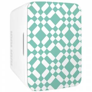 COOLULI Infinity 0.35 cu. ft. Retro Mini Fridge in Green Checkered Pattern without Freezer