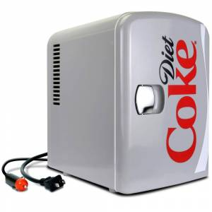 Diet Coke 0.14 cu. ft. Portable Mini Fridge in Gray without Freezer