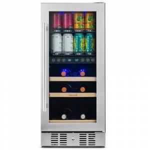 NewAir Premium 15 in. Built-In Dual Zone 9-Bottle Wine and 48 Can Beverage Cooler Fridge with SplitShelf - Stainless Steel, Silver