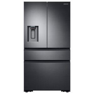 Samsung 22.6 cu. ft. 4-Door French Door Refrigerator with Recessed Handle in Black Stainless, Counter Depth, Fingerprint Resistant Black Stainless Steel