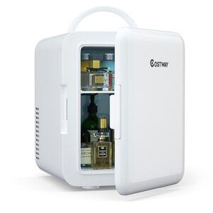 Costway 0.14 cu. ft. Retro Mini Fridge in White with Freezer