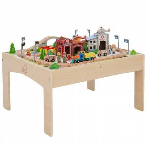 Teamson Kids Preschool Play Lab Toys Country Train and Table set - Wood (85-Pieces)