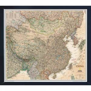 Winding Hills Designs, LLC National Geographic Framed Interactive Wall Art Travel Map with Magnets - China Executive, Black