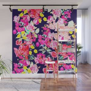 Society6 Summer Bright Antique Floral Print With Hot Pink, Yellow, And Navy V2 Wall Mural by melissapolomsky