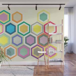 Society6 Honeycomb Layers II Wall Mural by cassiabeck