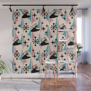 Society6 Mid Century Modern Cosmic Boomerang 726 Black Turquoise and Dusty Rose Wall Mural by tonymagner