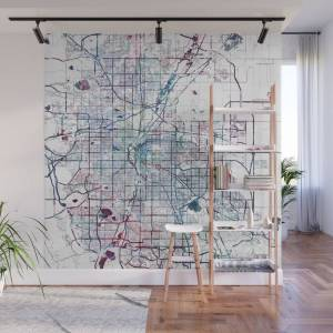 Society6 Denver map Wall Mural by mapmapmapswatercolors