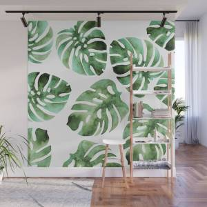 Society6 Monstera Wall Mural by lavieclaire