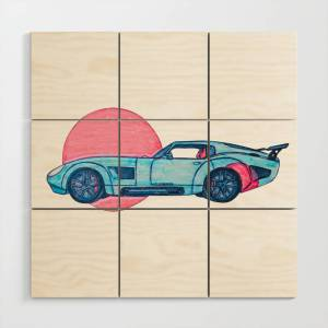 Society6 Brock's Coupe (Hand Drawing) Wood Wall Art by jzowens