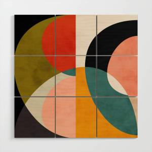 Society6 Geometry Shapes 3 Wood Wall Art by anarutbre