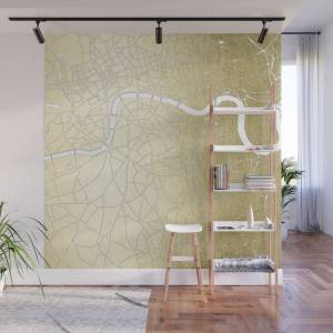 Society6 Gold on White London Street Map II Wall Mural by mapmaker