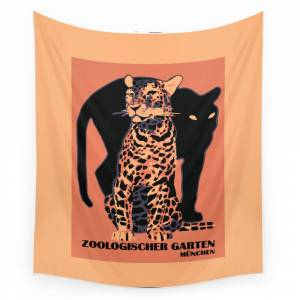 Society6 Retro Vintage Munich Zoo Big Cats Wall Tapestry by aapshop
