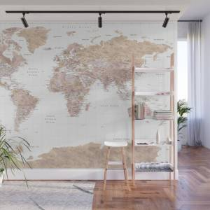 Society6 Highly Detailed Watercolor World Map With Antarctica, Abey2 Wall Mural by blursbyaishop