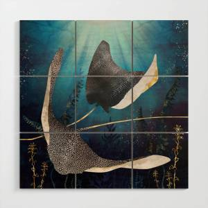 Society6 Metallic Stingray Wood Wall Art by spacefrogdesigns