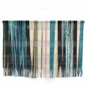 Society6 Blue Turquoise Black Grey Beige Pink Abstract Striped Pattern Wall Hanging by katerina_ez