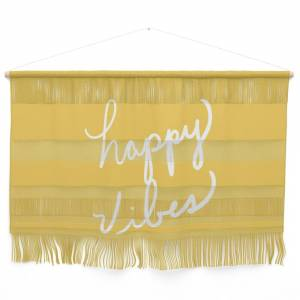 Society6 Happy Vibes Yellow Wall Hanging by lisaargyropoulos