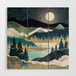 Society6 Star Lake Wood Wall Art by spacefrogdesigns