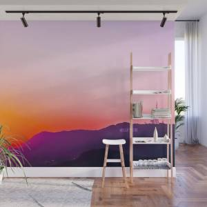 Society6 Hollywood Sign With Summer Sunset Sky Wall Mural by timla
