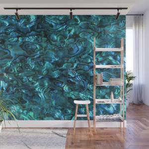 Society6 Abalone Shell Paua Shell Sea Shells Patterns in Nature Cyan Blue Tint Wall Mural by eclecticatheart