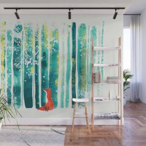 Society6 Fox In Quiet Forest Wall Mural by budikwan