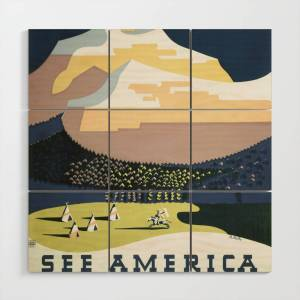 Society6 See America Vintage Poster: Welcome to Montana (1937) Wood Wall Art by ninboy