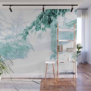 Society6 Emerald Forest In Blizzard And Snow Wall Mural by fernlakedesigns