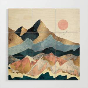 Society6 Golden Peaks Wood Wall Art by spacefrogdesigns