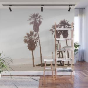 Society6 Vintage Summer Palm Trees Wall Mural by nauticaldecor