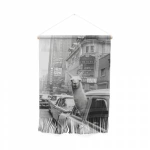 Society6 Llama Riding in Taxi, Black and White Vintage Print Wall Hanging by vintagevault
