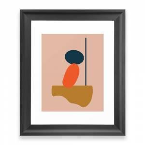 Society6 Abstract #1 Orange Blue Beige Framed Art Print by eze