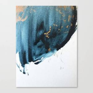 Society6 Sapphire and Gold Abstract Canvas Print by blushingbrushstudio