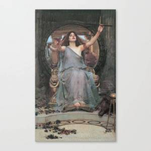 Society6 Circe Offering the Cup to Odysseus by John William Waterhouse Canvas Print by artmasters