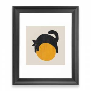 Society6 Cat With Ball Framed Art Print by budikwan